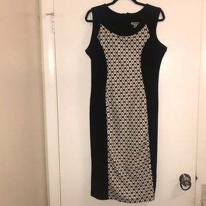 A fitted black and white dress